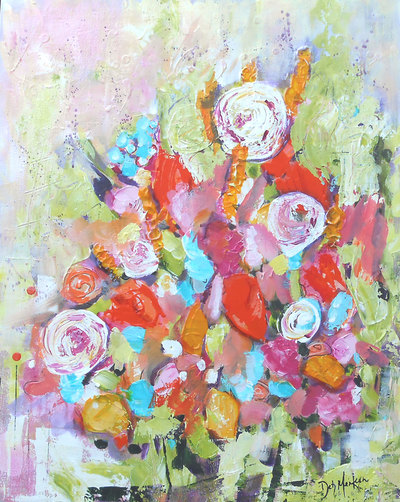 Garden Party: original acrylic painting by Canadian artist Deb Menken